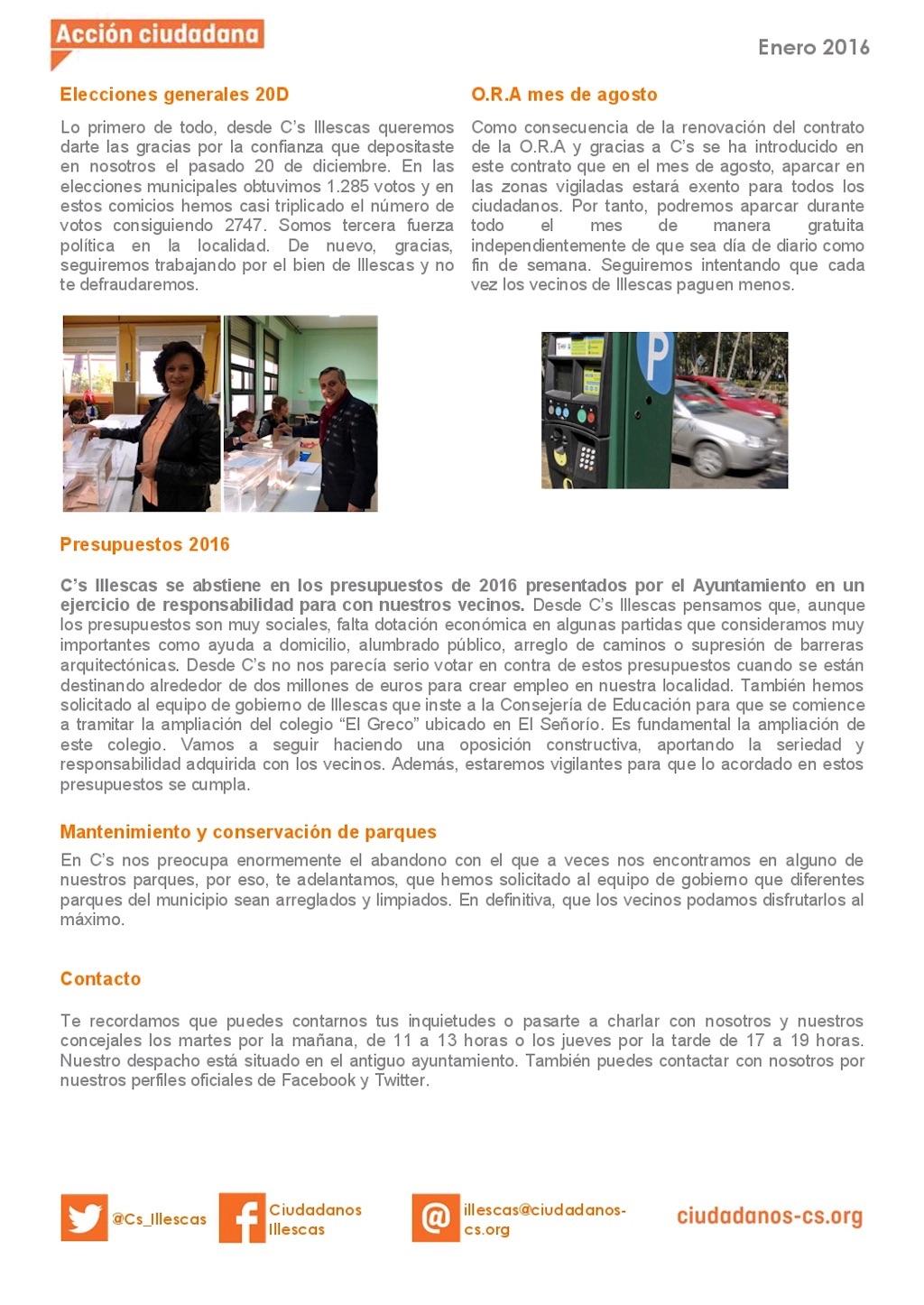 Boletín Informativo Enero 2016 C's Illescas